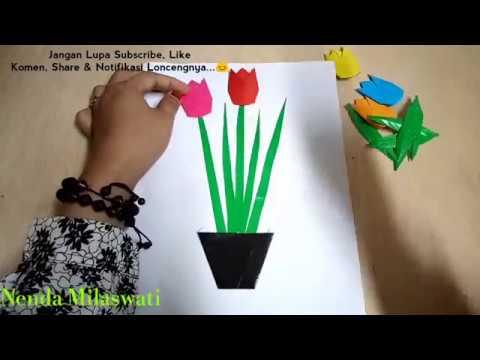 Melipat Menggunting Menempel Bunga Tulip Dari Kertas Origami Youtube