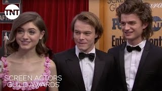Stranger Things Teens: Red Carpet Interview | 23rd Annual SAG Awards | TNT