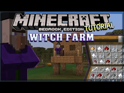 Witch Farm Tutorial - Gunpowder, Redstone and Glowstone! [Minecraft, MCPE, Bedrock Edition]