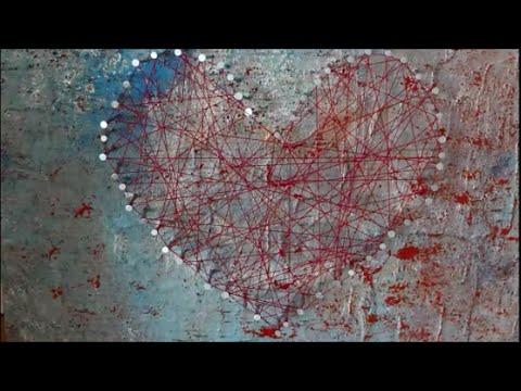 DIY: Herz Acryl-Bild / Faden Bild / String-Art Nagelherz basteln Geschenk Valentinstag / Muttertag
