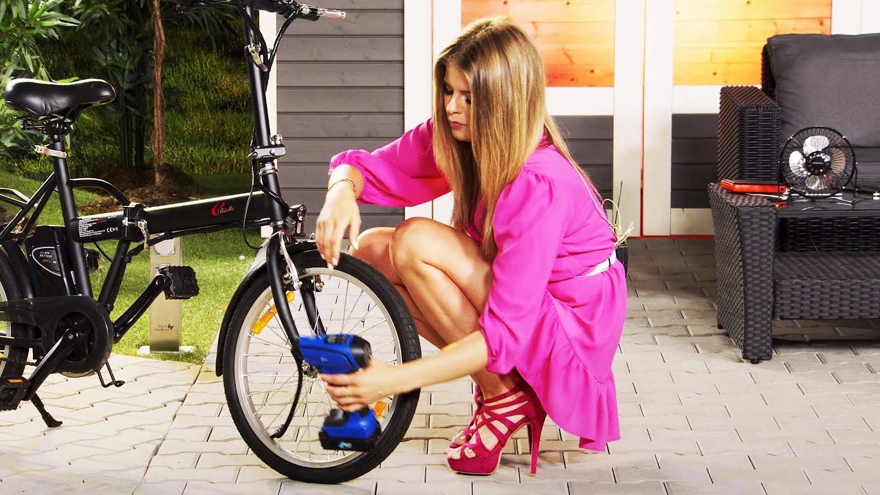 Diana bläst ihre Reifen spielend einfach selbst auf, mit der Akku-Kompressor-Luftpumpe von PEARL TV