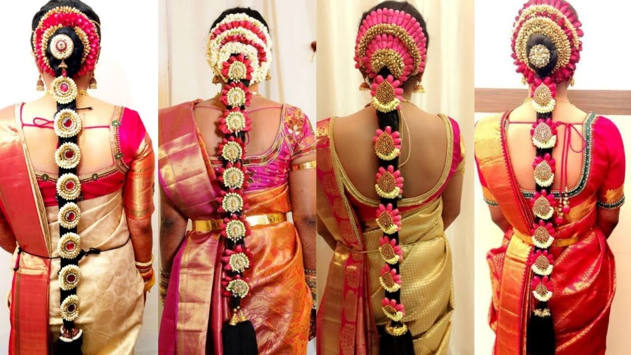 2018latest south indian wedding hairstyle/south indian bridal hair style south indian blouse design