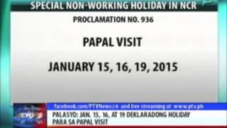 PNoy, idineklarang special non-working holiday ang Enero 15, 16, at 19 para sa Papal Visit