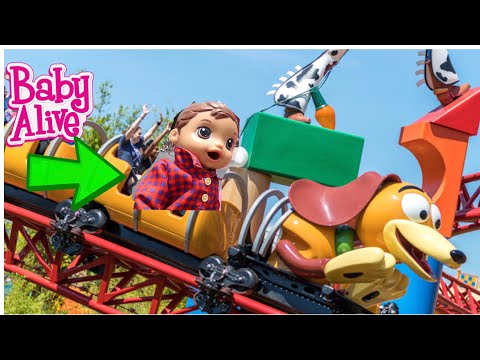 BABY ALIVE Rides Slinky Dog Dash Roller Coaster At Toy Story Land