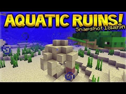 Aquatic Update - Minecraft 1.13 NEW Under-Water Ruins Added Ocean Update (Snapshot 18W09A)