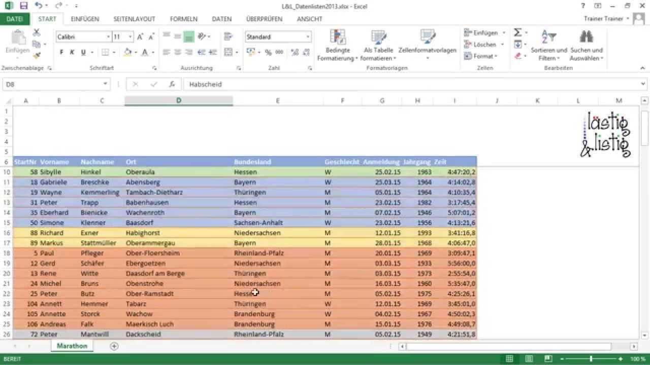 excel 2013 datenanalyse tutorial nach farben sortieren
