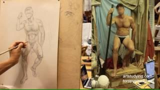 Длительный рисунок мужской сидящей(2). Обучение рисунку.Фигура. 85 серия.