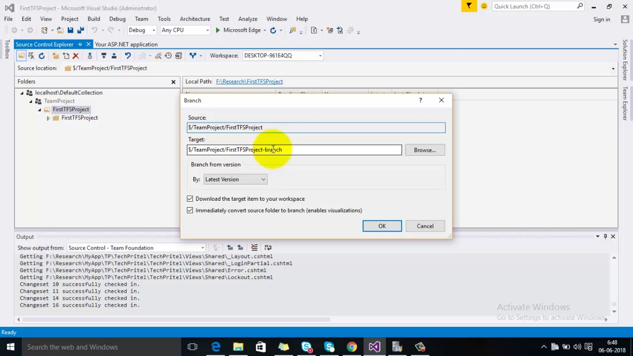 How to Create Branch for a Project Using TFS (Team Foundation Server)