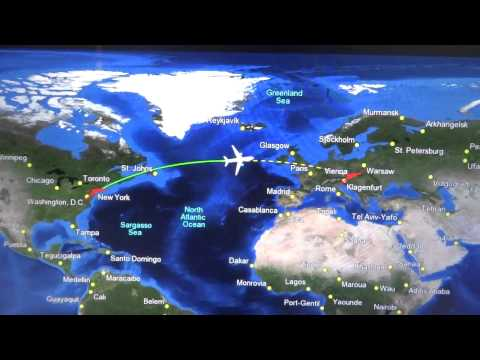 New York (JFK) to Vienna (VIE) flight: night takeoff & dense fog landing 2014-12-13