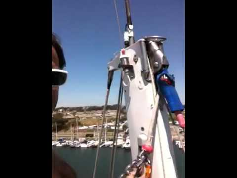 Atop a very tall mast at Oceanside Harbor. Boat Alchemy