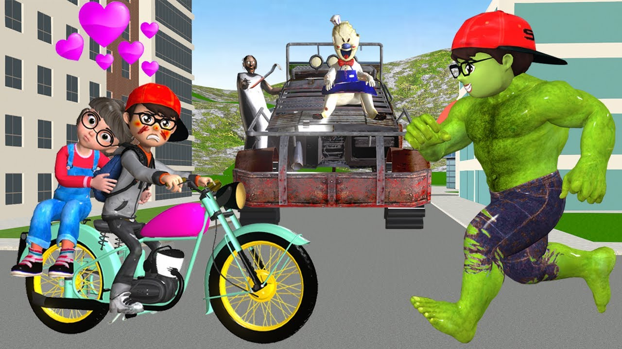 Scary Teacher 3D Nick Love Tani - Granny and Ice Scream 4 Race Terrain Vehicles vs Nick Hulk Rescue