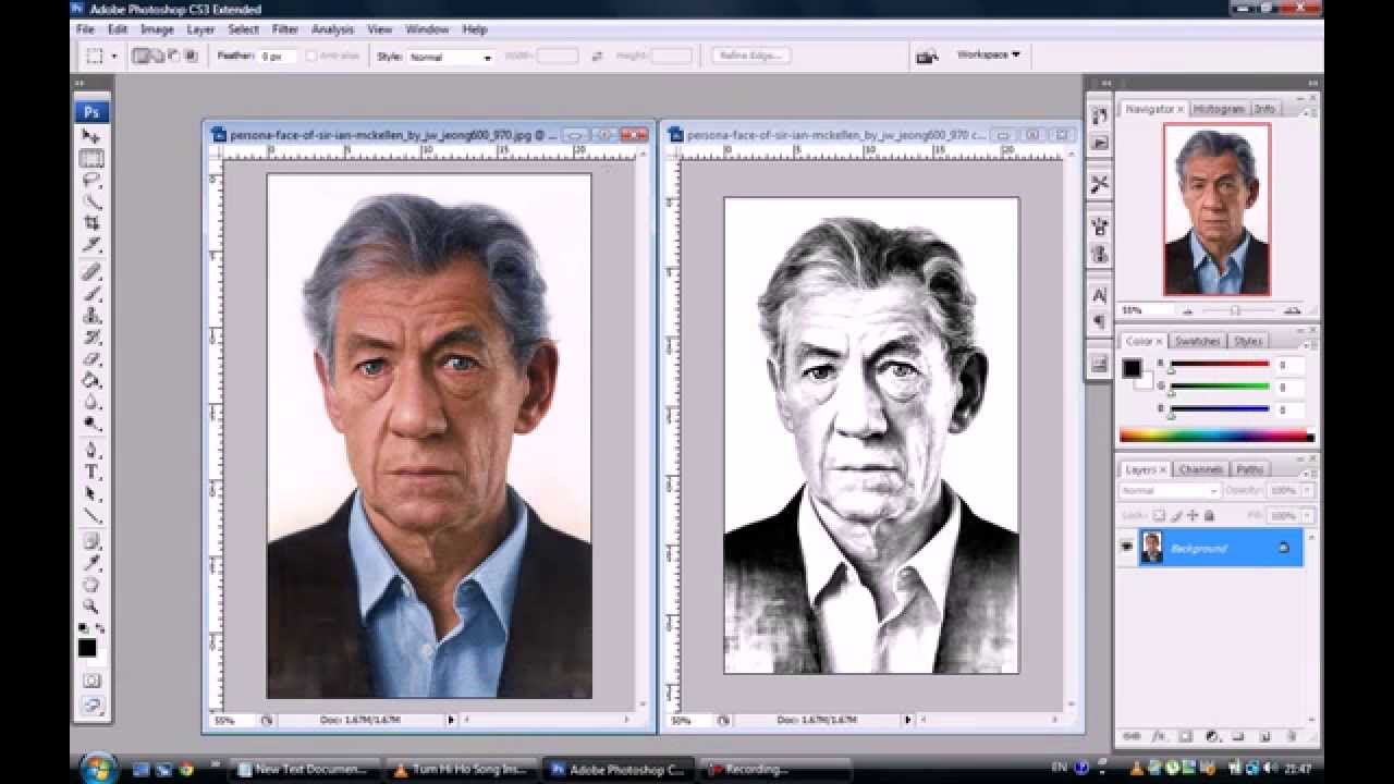 How to transform photos into pencil drawings adobe photoshop cs3 cs4 cs5 cs6 youtube