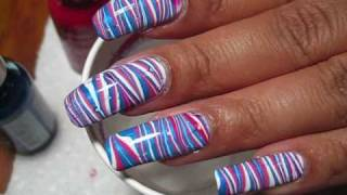 4th of july red white blue stripes water marble   diy nail art tutorial