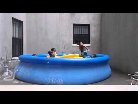 Foster kids in private pool