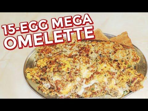 15-Egg Mega Breakfast Omelette Challenge w/ Hash Browns!!