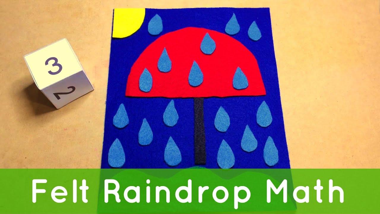 Felt Raindrop Math – Preschool Activity For Math Centers