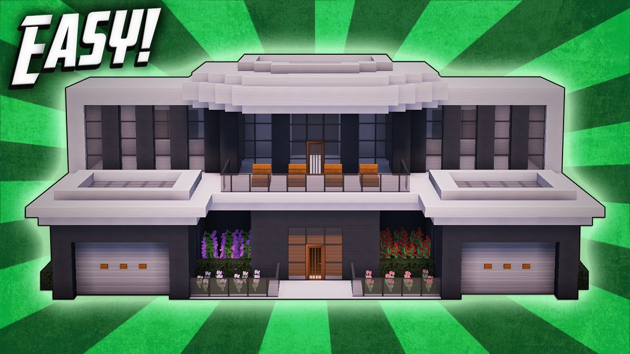 Minecraft How To Build A Modern Mansion House Tutorial 31 Youtube