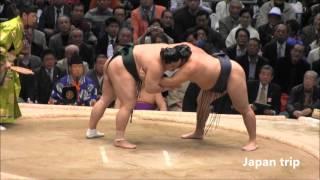 鶴竜 vs 隠岐の海の取組。 2016大相撲春場所3日目。