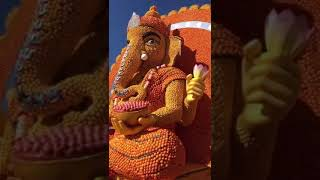 Big Ganpati Idol made from Laddoos in Foreign Country