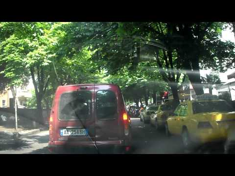 Driving in downtown Tirana, Albania