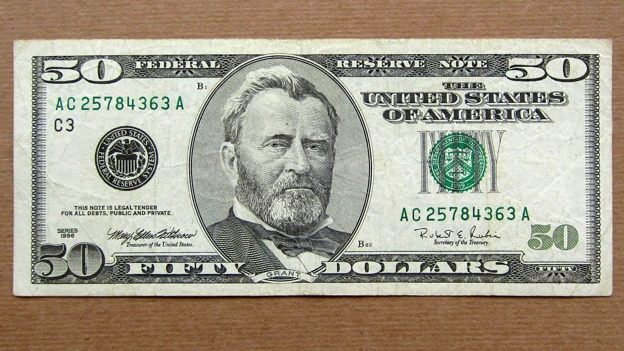50 Us Dollars Banknote Fifty Usa 1996 Obverse Reverse