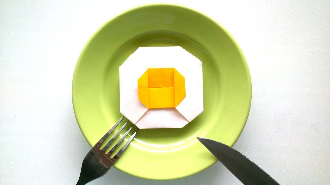 origami fried eggs origami food tutorial youtube