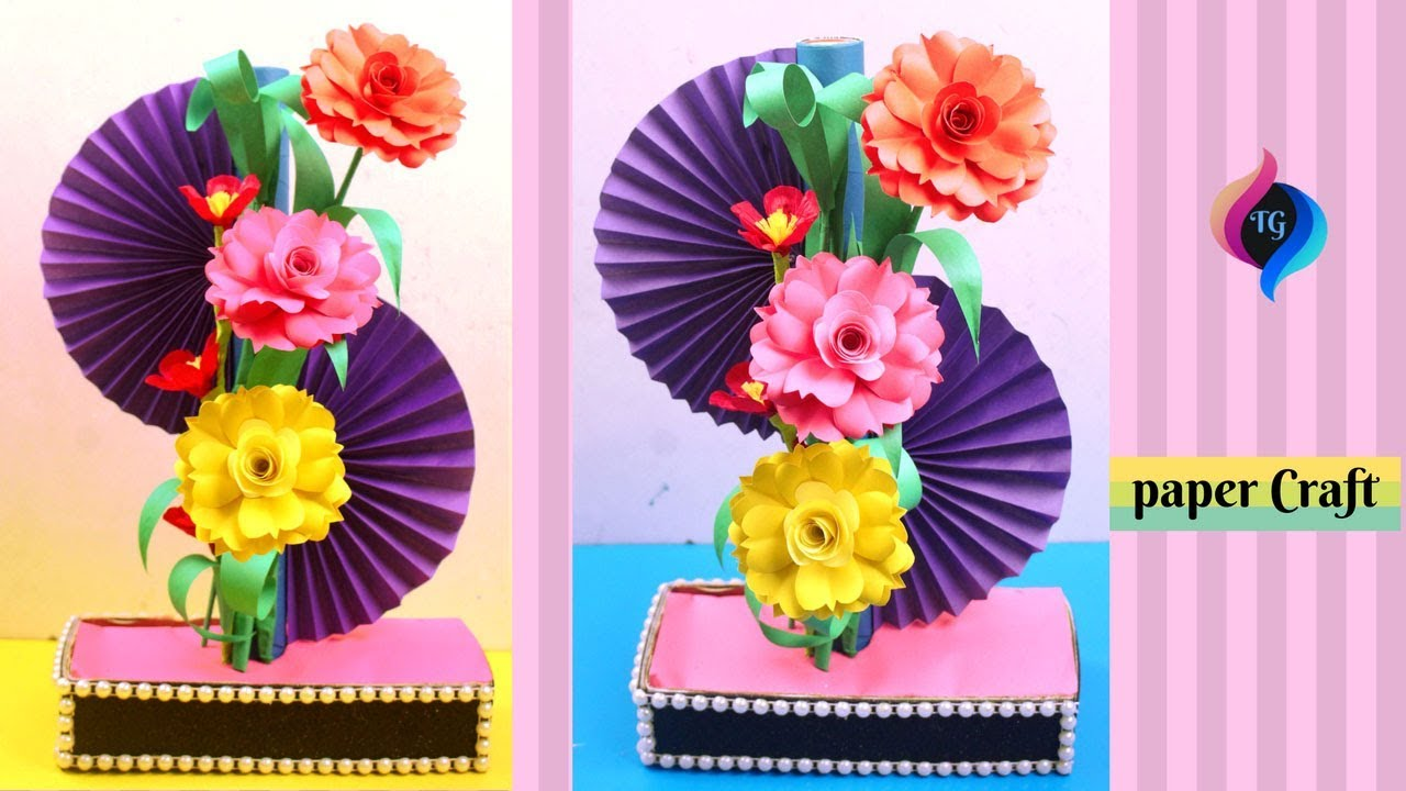 How To Make Home Decoration With Paper   DIY Simple Paper Craft   Paper  Showpiece At Home