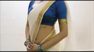 White Kerala Saree Wearing Style Tips:South Sari Draping(Hot Innovation)