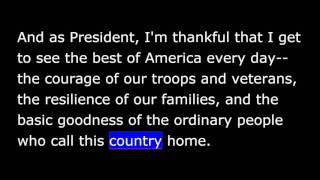 President Obama -  Nov 28th, 2015 -This Thanksgiving, American Generosity