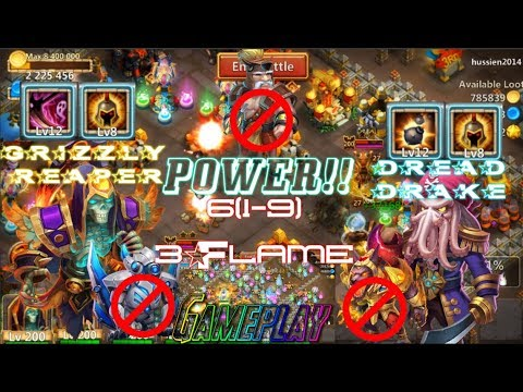 Skill 12 Dread Drake & Grizzly Reaper Wargod 8 Insane Dungeon 6(1-9) 3Flame - Castle Clash
