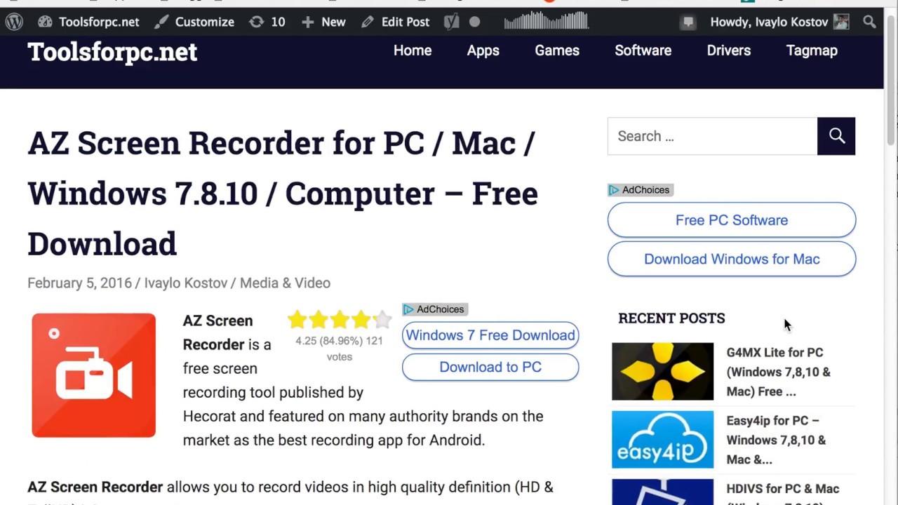 Az Screen Recorder For Pc Windows Mac Free Download Youtube
