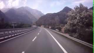 Paysages de la vallée d'Aoste jusqu'au tunnel du Mont Blanc