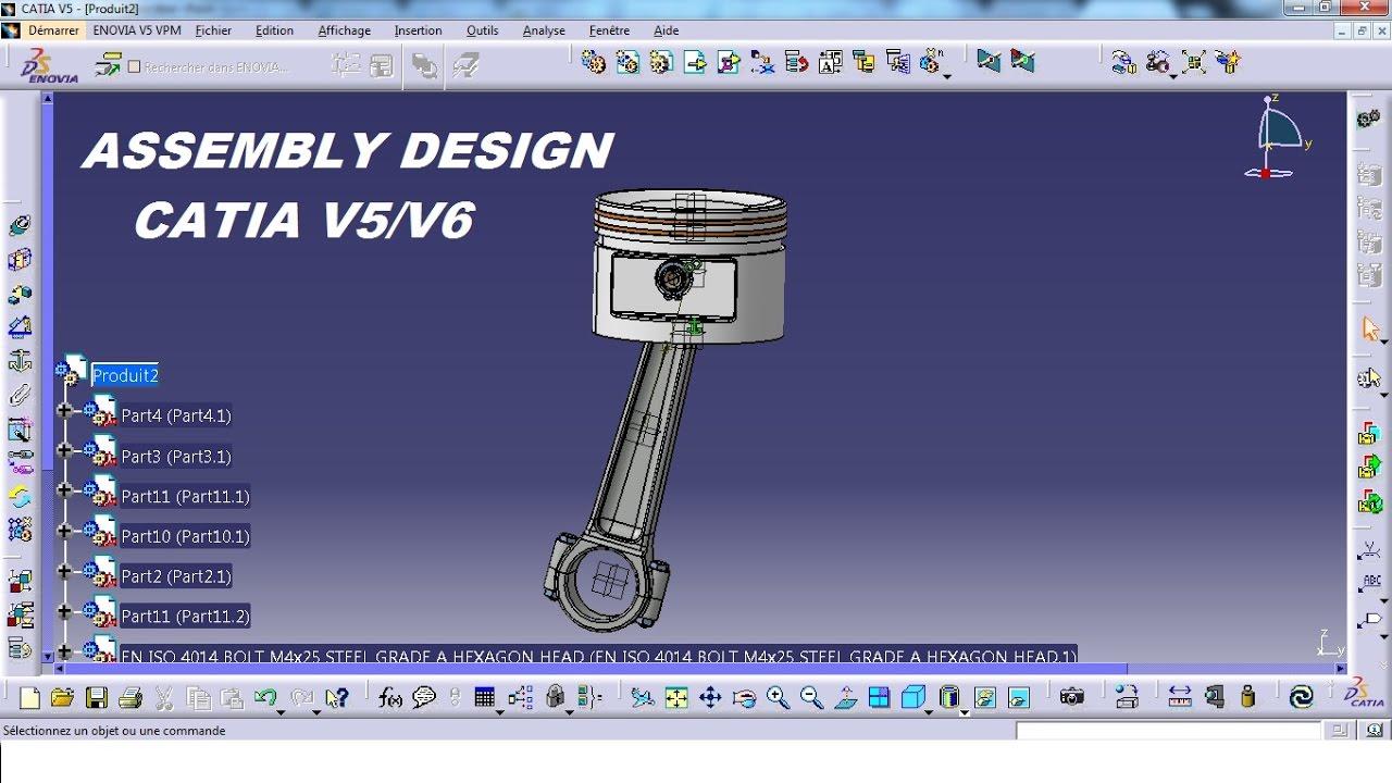 catia v5 tutorial 23 assembly design piston youtube. Black Bedroom Furniture Sets. Home Design Ideas