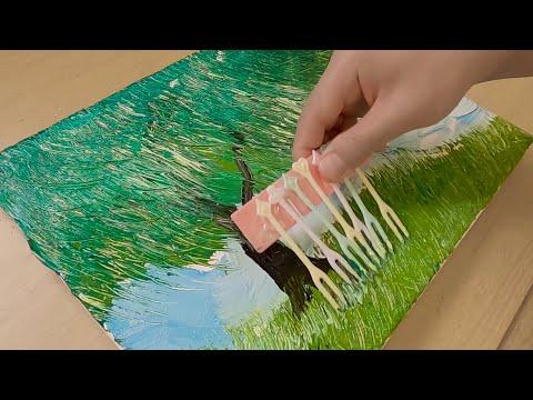 Plastic Fruit Fork Painting Technique / Unusual painting Idea