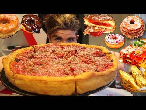 DEEP DISH PIZZA, LASAGNA, & DONUT 10,000 CALORIE DINNER  I DOUGHBOX LA  hEAT DAY I MAGICMIKEY!