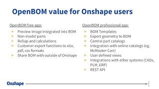 BOM Management Using OpenBOM for Onshape | Webinar (September 28, 2018)