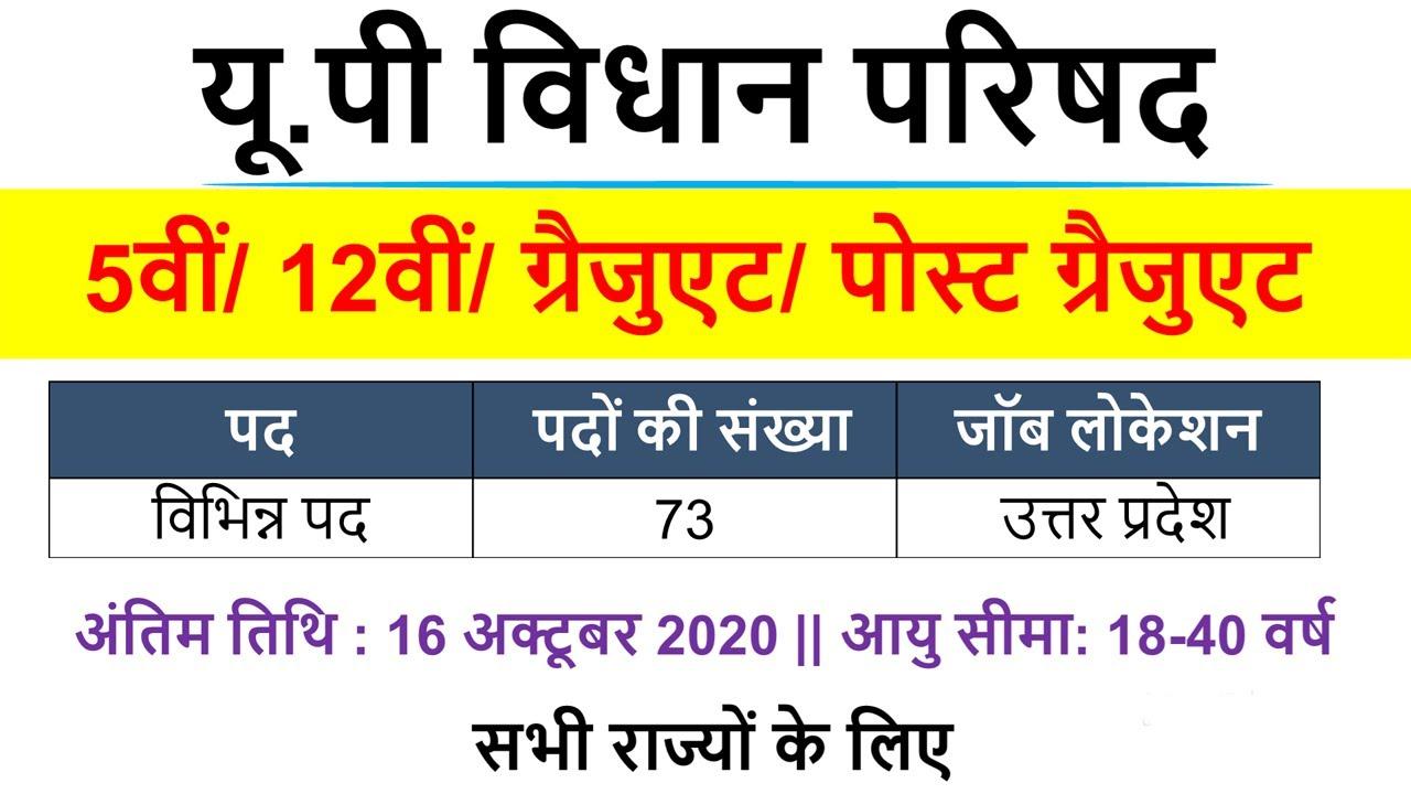 UP Sachivalaya Vacancy 2020| UP Vidhan Parishad RO Vacancy 2020