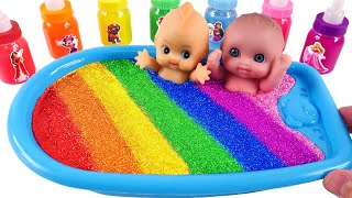 Satisfying Video l How to Make Rainbow Bathtub  with Mixing Slime from Glitter Cutting ASMR #46