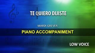 Te Quiero dijiste / Grever: Karaoke + Score guide / Low Voice