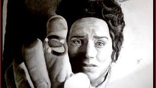 Frodo (Elijah Wood) - charcoal drawing