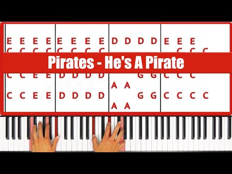 ♫ ORIGINAL - How To Play Pirates He's A Pirate Piano Tutorial Lesson - PGN Piano