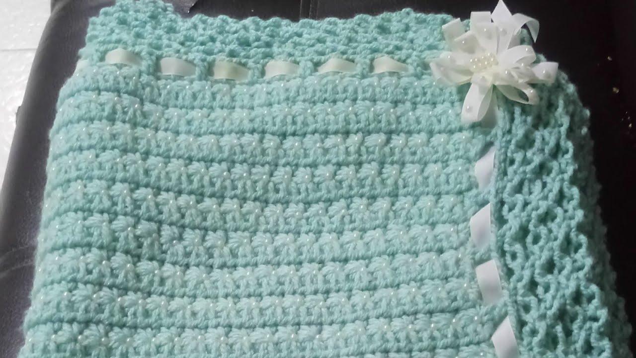 Cobija para beb tejida a crochet decorada con perlas - Baneras con cambiador para bebes ...