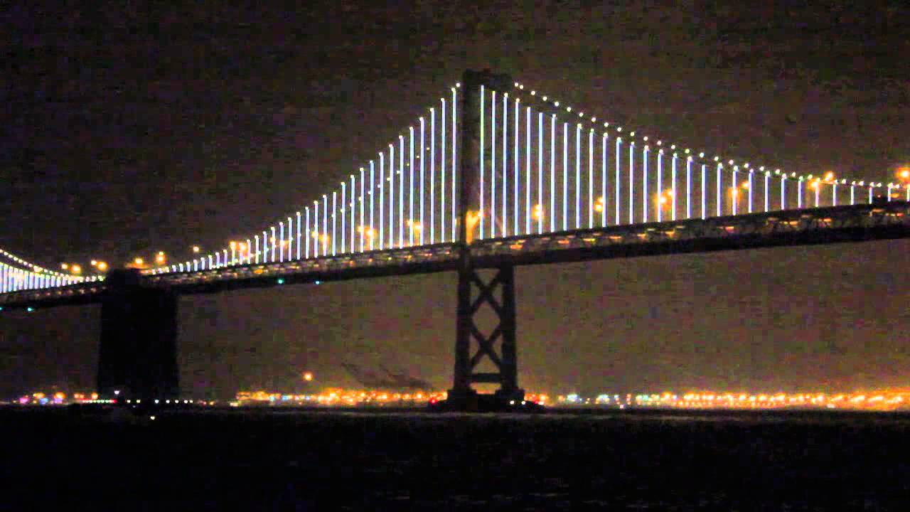 san francisco oakland bay bridge lights up the night news youtube