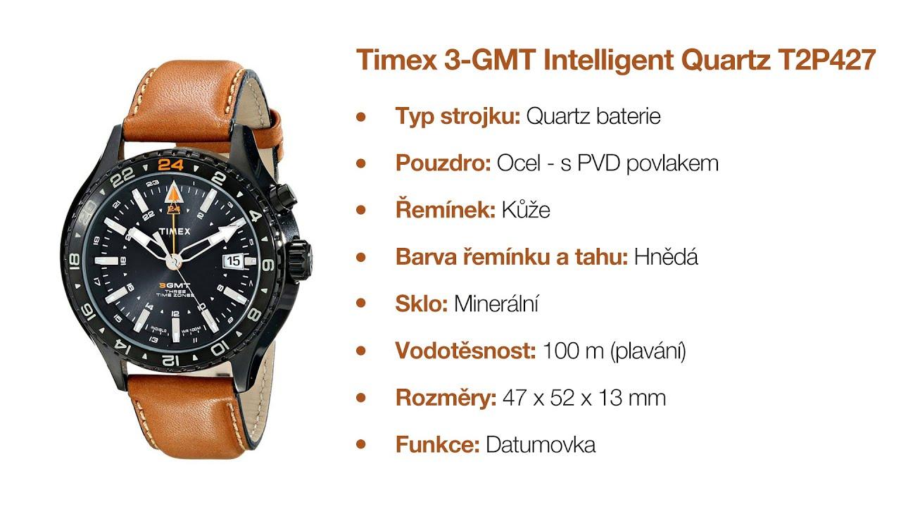 Hodinky Timex 3-GMT Intelligent Quartz T2P427 - YouTube ba605efeac8