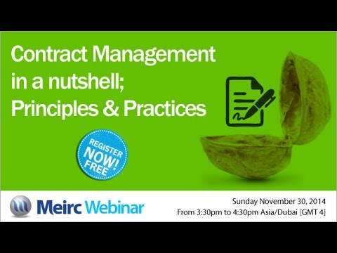 Contract Management in a nutshell; principles and practices