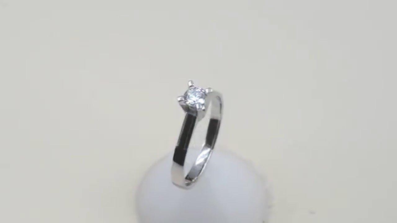 Λευκόχρυσο μονόπετρο γάμου 18Κ D018703 - YouTube 2613d811fea
