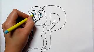 how to draw alphabet P with penguin cartoon