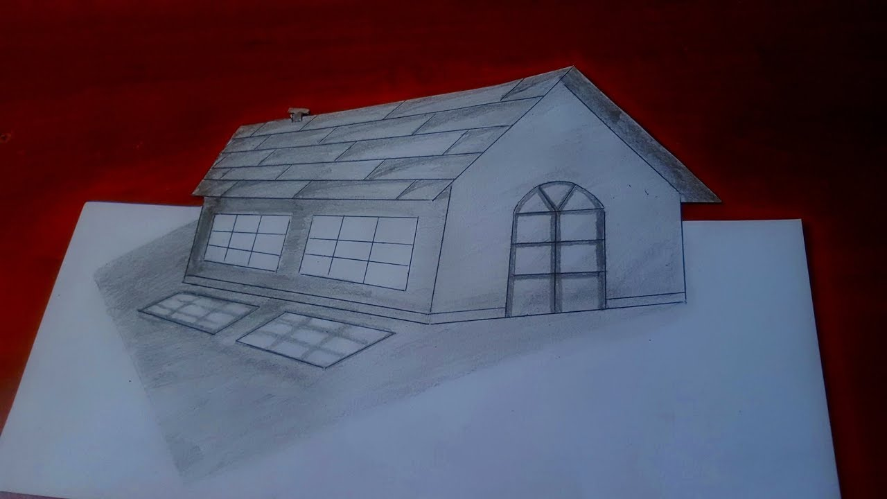 how to draw a three dimensional house