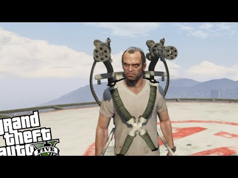 GTA 5 - MiniGun Jetpack Mod VS Zombie Attack (Grand Theft Auto 5 Zombies Vs MiniGun Jetpack)