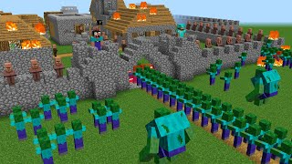 Minecraft NOOB vs PRO battle: NEW ZOMBIE ATTACK A PROTECTED VILLAGE!